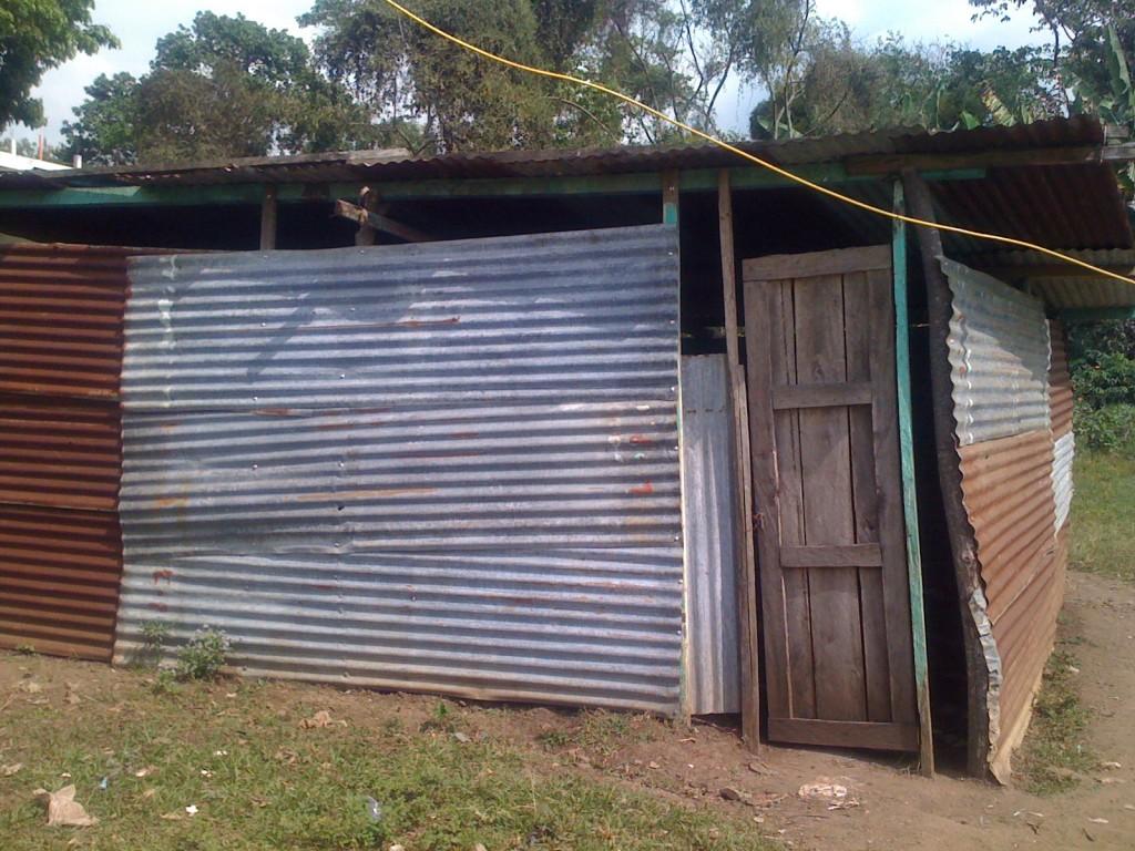 A temporary classroom made of sheet metal and wood in Las Palmas, Guatemala