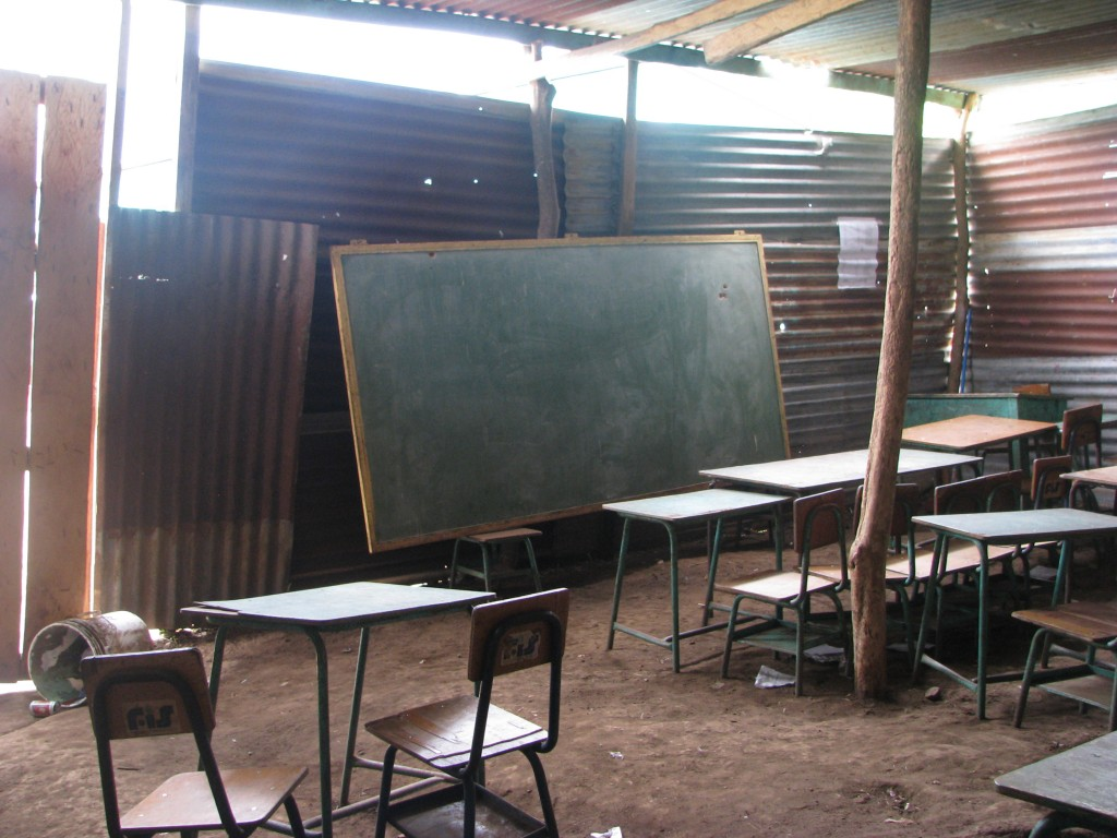 Interior of a temporary classroom in Las Palmas, Guatemala