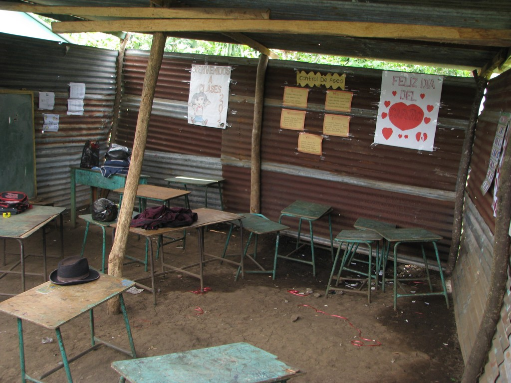 Interior of the temporary classroom in Las Palmas, Guatemala