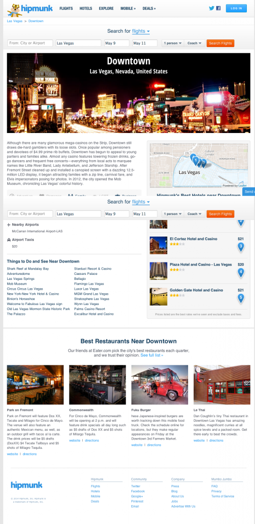 Hipmunk LV Downtown Page