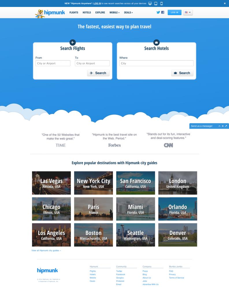 Hipmunk Home Page